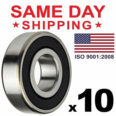 "Lot of 10 PCS, R6-2RS Rubber Sealed Ball Bearing, 3/8""x7/8""x9/32"", R6rs Greased"