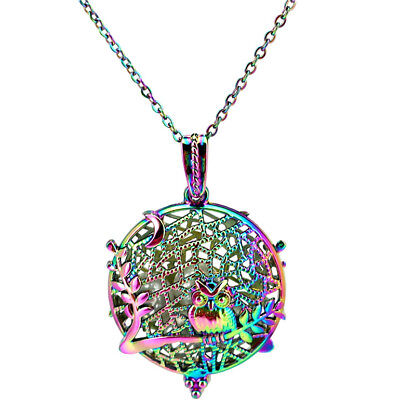 """LL4 Bright Silver Cage Owl Locket Necklace Diffuser Kids Aromatherapy Steel 18/"""""""