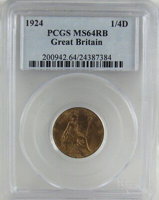 Great Britain 1924 Farthing 1/4D Pcgs Ms64Rb