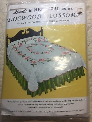 "Vintage BUCILLA Applique QUILT KIT No 1587 DOGWOOD BLOSSOMS  84"" x 100"" UNOPENED"
