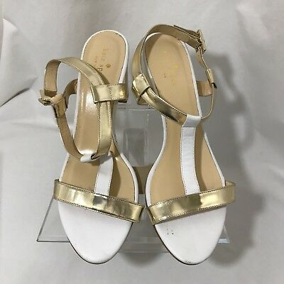 4c2ca7ac345 Kate Spade New York Shoes Gold And White Sandals Pumps Size 10B Italy 3