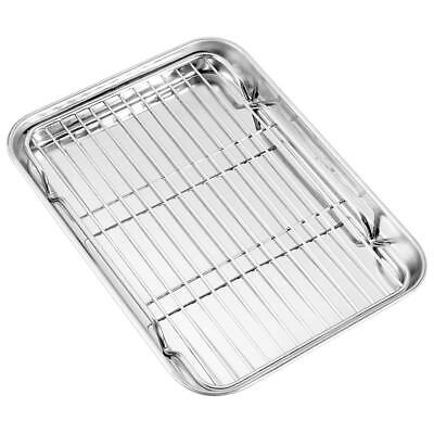 Toaster Oven Tray Wire Rack Set Stainless Steel Pan Broiler Cooking