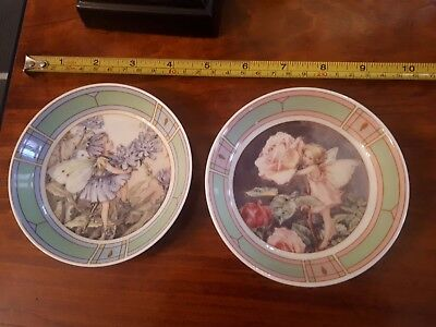 2 Royal Worceter Flower Fairies Pin Tray By Cicely Mary Baker 1998