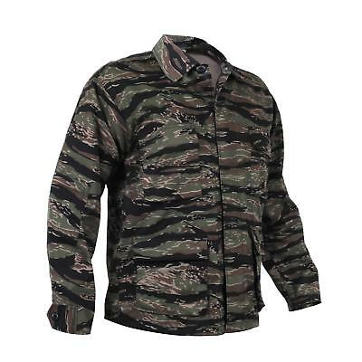 Military Style Asian Tiger Stripe Bdu Camouflage Fatigue Shirt Size Large