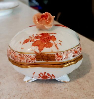 Herend Rust Chinese Bouquet Footed Square-ish Trinket Box w/ Rose