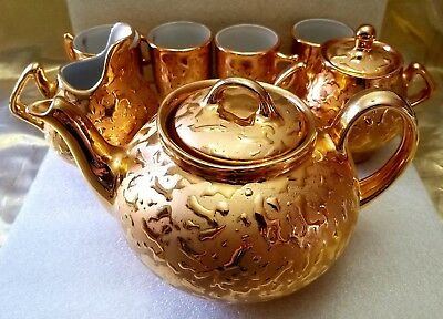 Vintage 22-Kt Gold Tea Set Hand Decorated Tepot, Sugar Dish, Creamer And 4 Cups