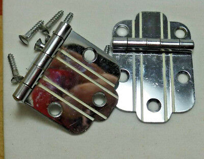 1950's Retro NOS National Lock CHROME Cabinet Hinges w WHITE Lines Flush Mount
