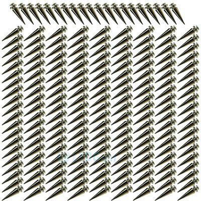 Lots 26mm Silver Spots Cone Screw Metal Studs Leather Craft Rivet Bullet Spikes