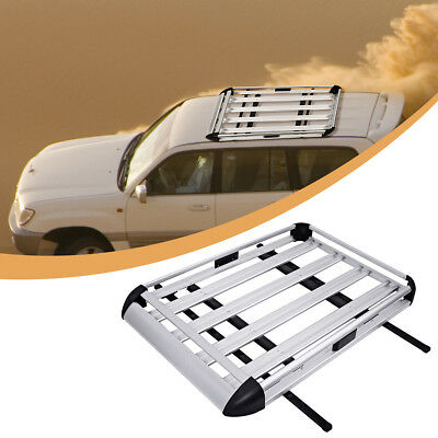 Aluminum Roof Tray Platform Rack Luggage Box Cargo Bars Carrier Universal Fit