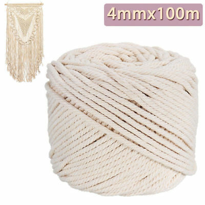 4mm Macrame Rope Natural Beige Cotton Twisted Cord Artisan Hand Craft 100M  RN