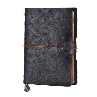 Vintage Leather Travel Journal Notebook Diary Embossed Flower Notepad Sketchbook