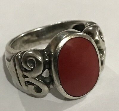 Antique 6.5 g Sterling Silver Ring with  Deep Red Coral Sz:6.5