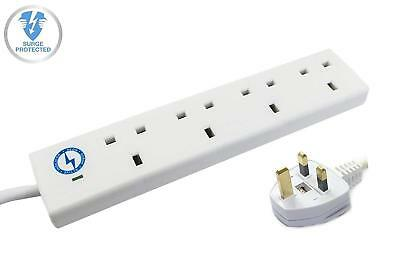 Wickes Master 4 Way Extension Lead Surge Protector w/ Neon Indicators in White