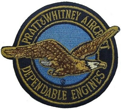 "Pratt & Whitney PATCH Sew-On Embroidered Round Large 4"" Inch Diameter Vintage!"