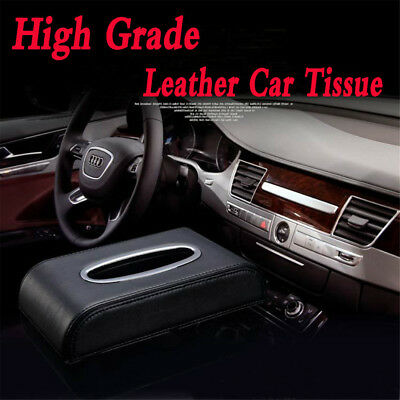 PU Black leather Car Tissue Napkin Box Cover Papers Holder Home Office Bar JO