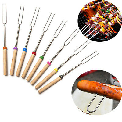 1/4* Camping Campfire  Hot Dog Telescoping Roasting Fork Sticks Skewers BBQ