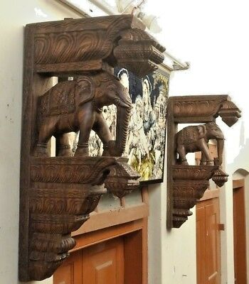 Wooden Elephant Corbel Pair Handcarved Bracket Estate Wall Elefant Home Decor