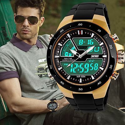 SKMEI Mens Sport Military Digital Big Dial Date Chrono Analog Quartz Wrist Watch