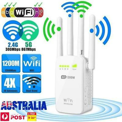 1200Mbps Dual-Band 2.4/5G 4-Antenna WIFI Range Extender WiFi Repeater Router 4k