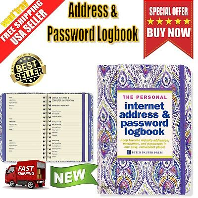 Personal Internet Address Password Logbook Large Hardcover spiral Silk Road Book
