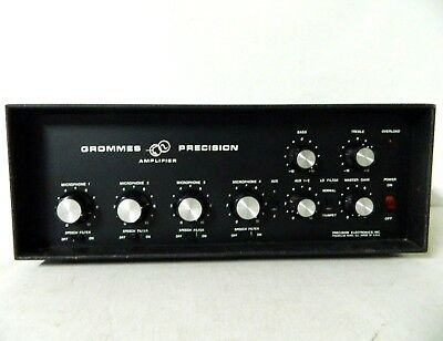 Vintage Grommes Precision Solid State Amplifier GT-60 4 Mic Input Tested Working