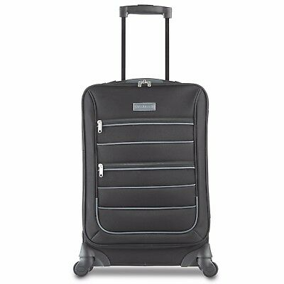 VonHaus Black Lightweight Hand Luggage Fabric Cabin Bag Case 4 Wheel Trolley