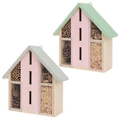 Hanging Wooden Insect Bug Bee Ladybird Hotel House Garden Shelter Box Natural