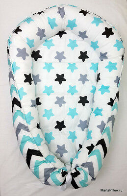 Baby Nest for the Newborn turquoise black gray zigzags and stars