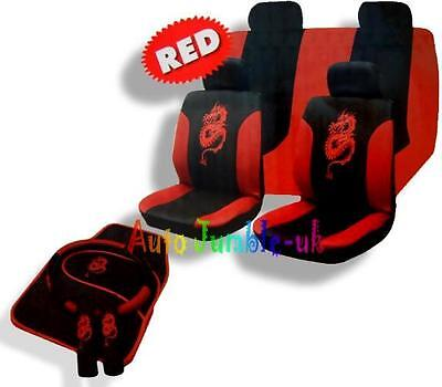 RED Dragon Car Seat Cover 4pc Mat Full Set Steering Wheel Pads