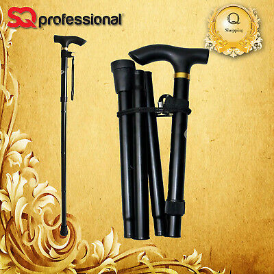 Height Adjustable Folding Walking Stick with Matching ColorHandle in Black Color