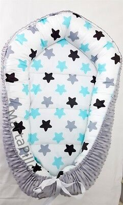Baby Nest for the Newborn turquoise black gray stars and gray plush