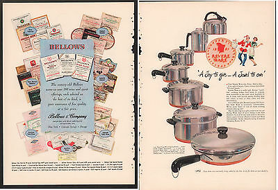 Bellows Wine Spirits & Revere Ware Back to Back 1948 Vintage Full Page Print Ad