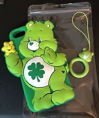 New Care Bears Good Luck Bear iPhone 6 8 Case W/ Finger Ring Attachment