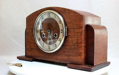 Antique English  Table Clock  Art Deco Two Tone