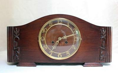 Beautiful Art Nouveau  German Table Clock   Two Tone