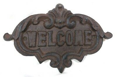 """Rustic 8"""" Cast Iron Welcome Sign - Brushed Black/Brown Vintage Farmhouse Styled"""