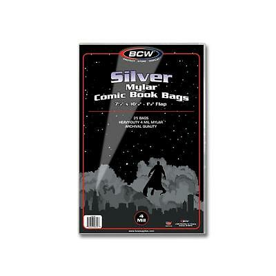 1 Pack of 25 BCW Silver Age Comic Book Mylar Storage Bags Sleeves 4 mil