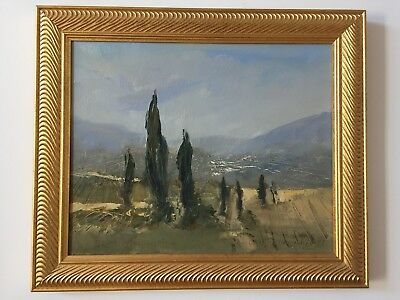 Original Oil Painting By Listed Polish Artist Marian Danielewicz View Of Tuscany
