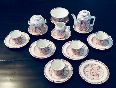 Staffordshire Little Mae Tea Set Plate Country Red Dog Cat Pets Allerton 1880