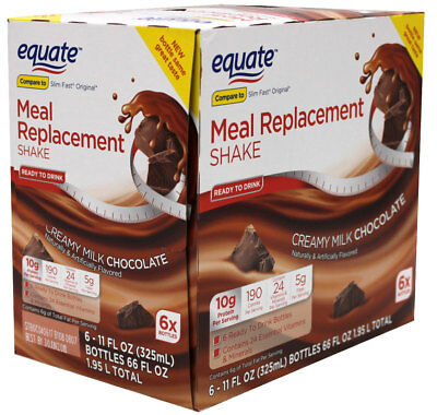 36 Bottles - Equate Meal Replacement Shake, Chocolate Weight Loss Drink 11 Oz.