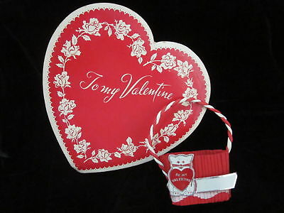 Vintage MY Valentine Heart Candy BOX & Crepe Name Party Candy Nut CUP Decoration