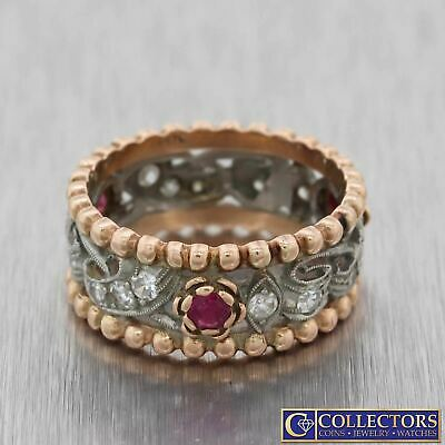1940s Antique Art Deco 14k Rose Gold .70ctw Diamond Ruby 8mm Wide Band Ring G8