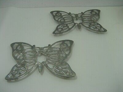Vintage Pair of Leonard Silver Plate Butterfly Hot Plate Trivet or Wall Hanger