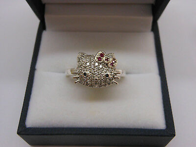 SANRIO Sterling Silver HELLO KITTY Pave CZ Ring Size 8