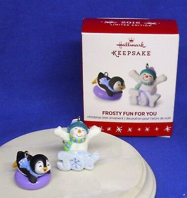 Hallmark Miniature Limited Ornament Frosty Fun For You 2016 Snowman Penguin NIB