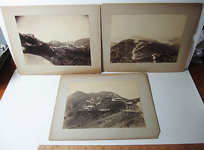 RARE Lot of 3 - Lg Albumen Photos 1890 Hong Kong Mountain Building Construction