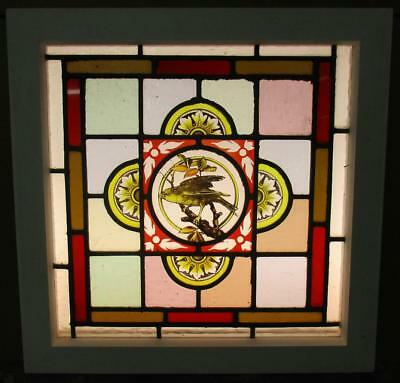 "VICTORIAN ENGLISH LEADED STAINED GLASS WINDOW Hand Painted Bird 18.25"" x 18.25"""