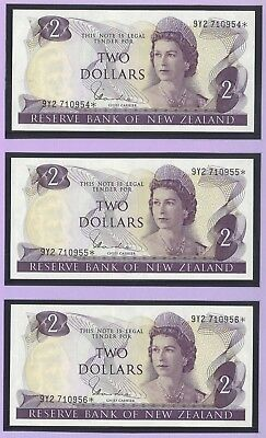 New Zealand Two Dollars $2 Paper Banknote UNC Consecutive Run of 3 with Star #5