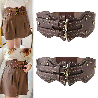 Womens Lady Vintage Wide Waist Belt Leather Stretch Double Buckle Casual Brown