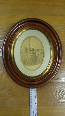 victorian antique solid walnut oval frame brass liner 11.25 x 13.25 1800s euc